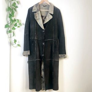 Vintage Suede Patchwork Belted Midi Trench Coat